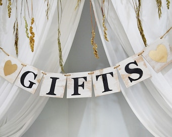 Wooden Gifts banner, Rustic party decor, Home wall decor, wooden custom party banner, wooden garland, garland, custom banner