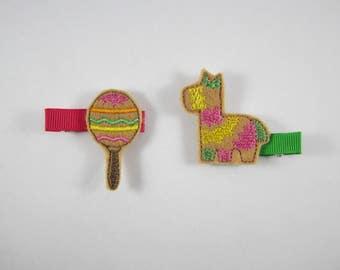 Cinco de Mayo maraca pinata felt embroidered hair clip set