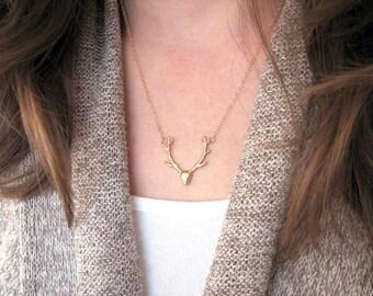 Antler Necklace Gold, Gold Deer Head Necklace, Antler Pendant, 14K Gold Fill Chain
