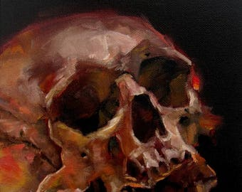Scientific Skull Painting by CES - Dark Art Halloween Decor Halloween Art Starstuff Skull Painting Wall Art Macabre Painting Impressionist