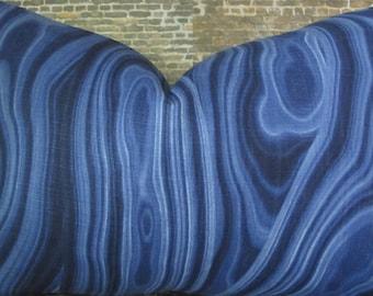 Designer Pillow Cover - 10 x 20, 12 x 16, 12 x 18, 12 x 20 - Dwell Studio Malakos Ultramarine Blue