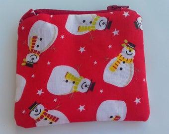 Christmas snowman coin purse