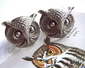 Hoot Owl Cufflinks BIG & BOLD Statement Cufflinks Antiqued Silver Cufflinks Men's Cufflinks Steampunk Cufflinks Round Owl Large Size