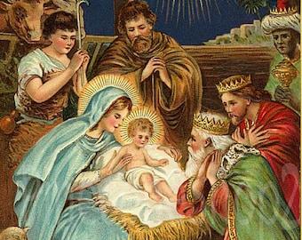 Joyous Yuletide! Vintage nativity card