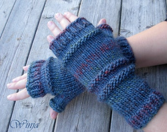 Hand knitted mittens, blue chunky knit gloves, arm warmers, women's winter mittens, knitted fingerless gloves, Outlander fingerless gloves