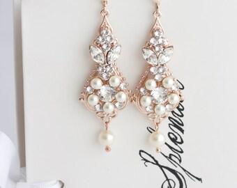 Rose gold bridal earrings pearl drop bridal earrings simple rose gold bridal earrings chandelier earrings vintage wedding earrings pearl crystal wedding jewelry paris earrings aloadofball Image collections