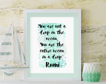 You are the entire ocean in a drop, Rumi quote, spiritual quote, Zen quotes, watercolor instant download printable