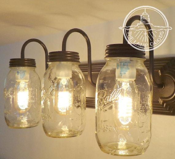Mason Jar Wall Sconce New Quart Trio Lighting Fixture Vanity
