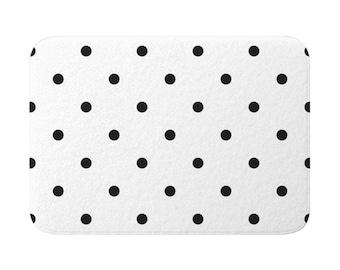 Polka Dots Pattern Bath Mat, White and Black Bath, Bath Rugs, White Decor, Dotted Art, Bathroom Mats, Minimal Rug, Shower Mat, Classic Decor
