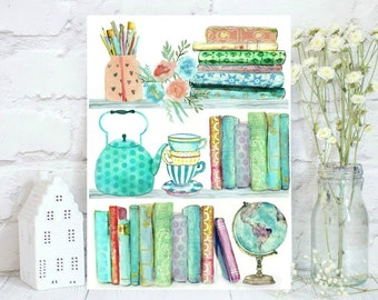 Watercolor Bookshelves - Watercolor Books