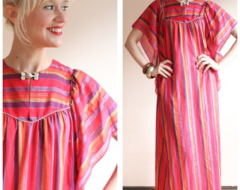1970s Dress // Borad & Co Striped Caftan Dress // vintage 70s maxi dress