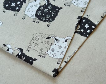 Linen funny sheep fabric 19,68 x 59 inch // Linen supply // Bag material