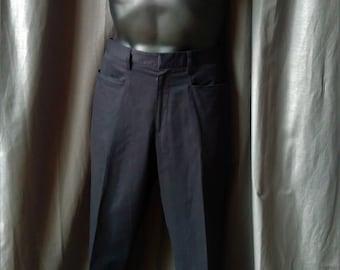 Vintage 1990s Men' s Prada Flat Front Pants in Black / 90s Prada Slacks - Cotton -EU Size 50 Waist 34