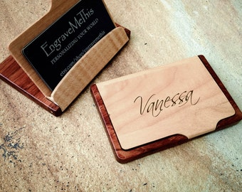 Custom card case etsy business card case personalized wood case custom engraved card holder maple rosewood reheart Images