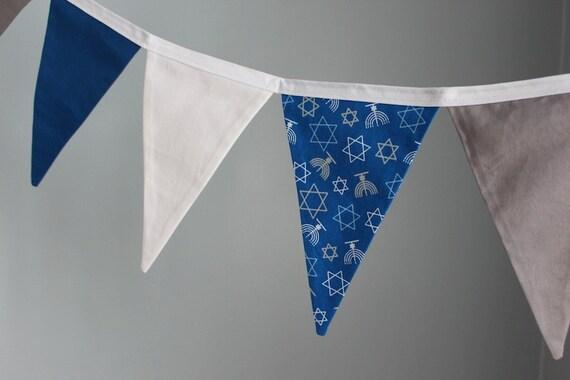 Hanukkah Fabric Bunting    Pennant Fabric Flag Banner    Blue And Silver Fabric Bunting    Star And Menorah Pennant Garland    9 Feet by Etsy