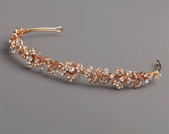 Rose Gold Floral Headband, Crystal & Rhinestone Bridal Headpiece, Rose Gold Hair Accessory, Wedding Floral Headband, Bridal Piece ~TI-3169