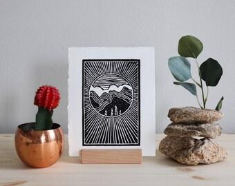 Mountain Scene | Linoleum Print