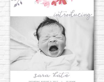 Watercolor Floral Border Baby Announcement
