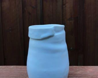 white wavy lipped vase - wheel thrown - ceramic