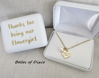 GOLD Flowergirl Necklace ~ Pearl Flower Girl Necklace ~ Thanks for being our Flowergirl Gift Will you be our Flowergirl Ask Flower girl Gift