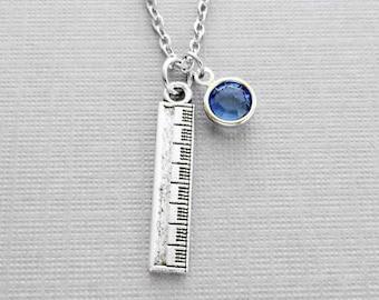 Ruler Necklace, Teacher Gift, School Jewelry, Academic Jewelry, BFF Gift, Birthday Gift, Silver Jewelry Swarovski Channel Crystal Birthstone