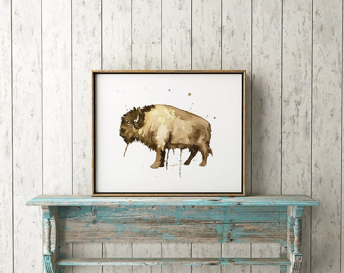 Bison Watercolor Art No.102 Watercolor Painting Home Decor Kitchen Art Native Wall Artwork Buffalo Watercolor Art Buffalo Art Decor Artwork