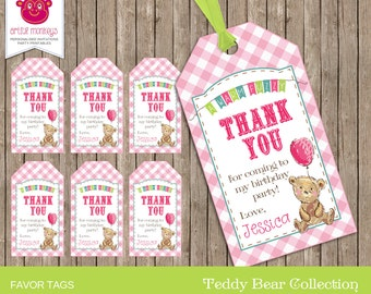 Printable Teddy Bear's Picnic Favor Tags | Personalized | Pink