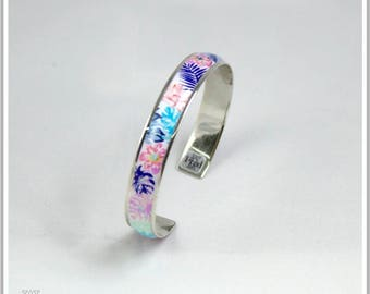 Silver plated Bangle Fleuri Simona white bracelet