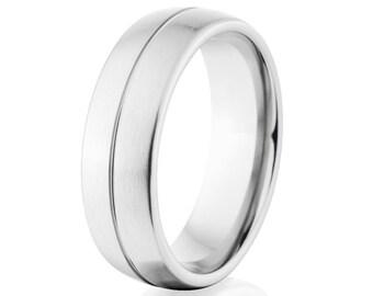Matte Cobalt Ring, Cobalt Wedding Bands, 7mm Cobalt Ring: COB-7HR1CG-B