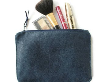 Makeup pouch, organizer bag, blue pouch, blue pen pouch, vegan gift, birthday gift, fashion gift, minimalistic pouch, blue pouch