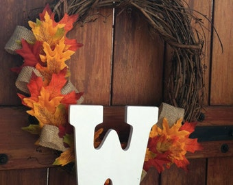Rustic Fall Wreath with Burlap and Leaves