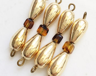 gold tone metal teardrop and brown acrylic bead salvaged dangles jewelry components for repurposing--matching lot of 4