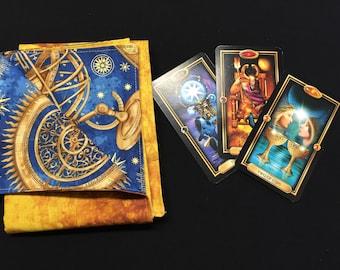 Celestial Steampunk Mechanical Reversible Tarot or Rune Reading Cloth