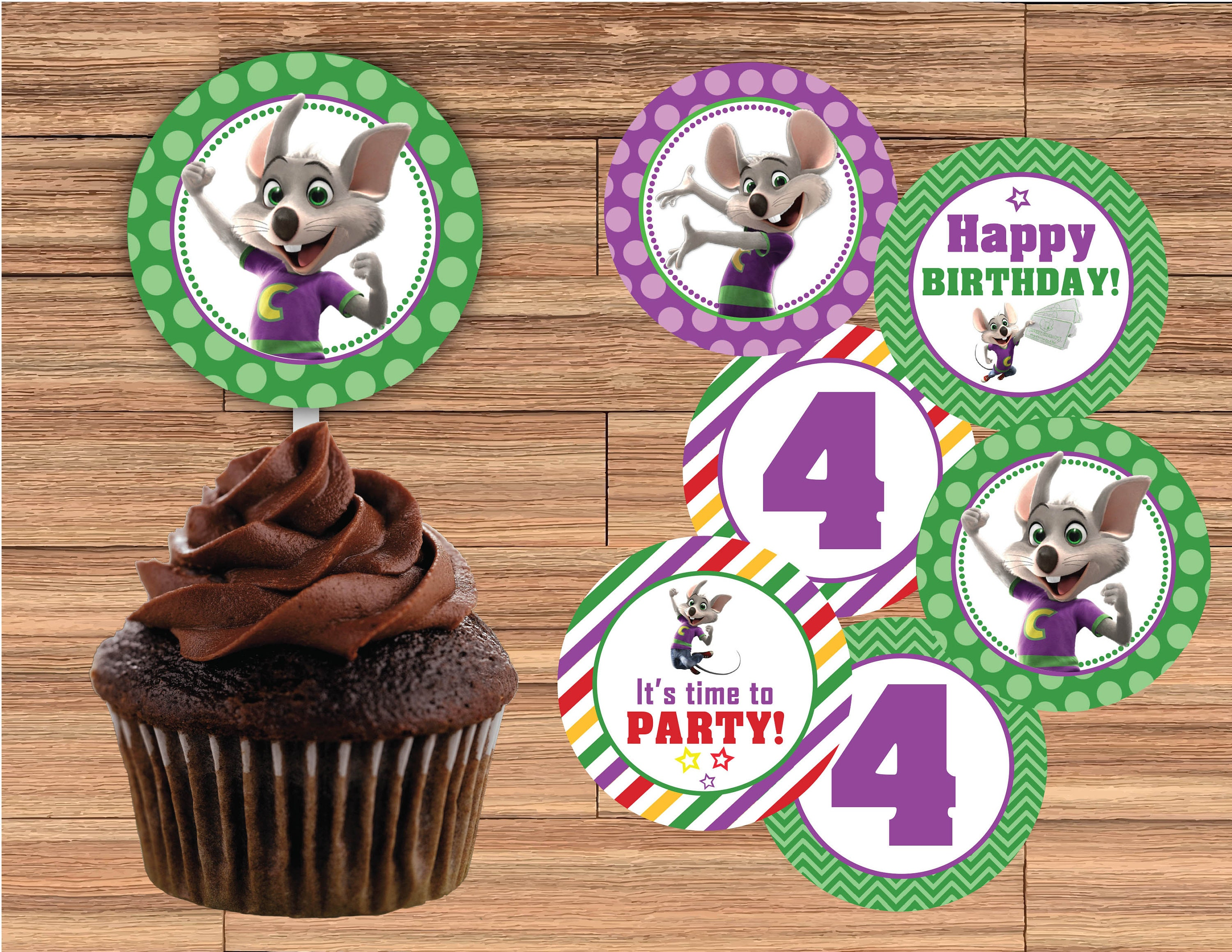 CHUCK E CHEESE Cupcake Toppers 2 Inch or 25 Inch Printed