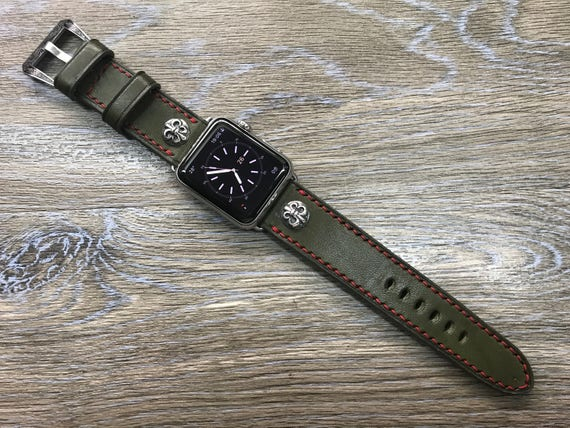 Apple Watch Band, Apple Watch 38mm, Leather Watch Band, Army Green Leather Watch strap, Apple watch 42mm, iwatch, Series 1 & 2