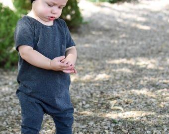 Charcoal romper- short sleeve romper - long sleeve romper- baby romper-toddler romper - snapless romper - harem romper pull on romper