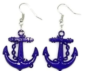 Blue Patriotic Anchor Earrings