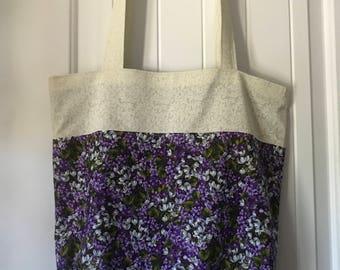 Purple Floral & White Two Tone Reusable Eco Tote Bag