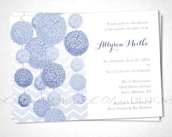 Pom Pom Baby Shower or Event Invitation - Blue - DIY Printable