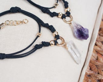 Set of Necklaces, Best Friend Necklace, Healing Crystal Necklace, Raw Crystal Choker Necklace, Witchy Jewelry Best Friend Gift, Jewelry Gift