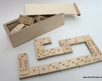 Personalized Wooden Domino Game with Stars Theme (custom themes available)