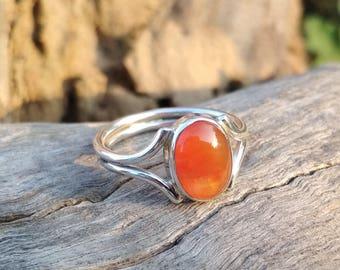 Natural Carnelian Oval Cab Handmade Sterling Silver Ring - Carnelian Ring -Carnelian Oval Cab Ring - Handmade Carnelian Ring - Gift Ring