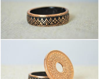 Black Coin Ring, Thailand Coin Ring, Black Ring, Crown Ring, Thailand Art, Black BoHo Ring, Coin Jewelry, Bohemian Ring, Thailand, Coin Ring