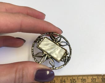Vintage Metal Openwork Button with Lucite