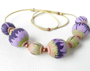 Necklace large beads jewelry purple green necklace chunky jewelry colourful big beads necklace lilac for girl and woman trendy bold necklace