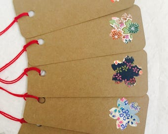 Assortment Cherry Blossom Gift Tags, Japanese Style Gift Tags, Kraft Gift Tags, Journal Tags, Wine Bottle Tags,  Set of 6
