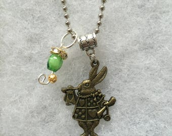 Handmade white rabbit necklace with charm