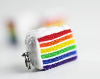 Rainbow Jewelry, Pride Jewelry, Rainbow Cake, Cake Slice Charm, Food Jewelry, Miniature Food, Food Charm, Stitch Marker, Food Stitch Marker