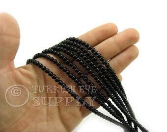 Jade Beads, 4mm Round Black Jade Bead Strands, One 1 Full Strand Semiprecious Gemstone Beads, Loose Beads