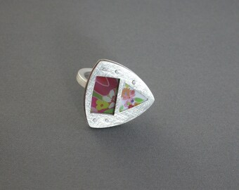SMaddock OOAK Sterling Silver Layered Window Ring Recycling Flowers